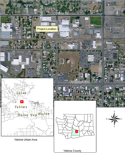 Project Location - J Street in Yakima Map