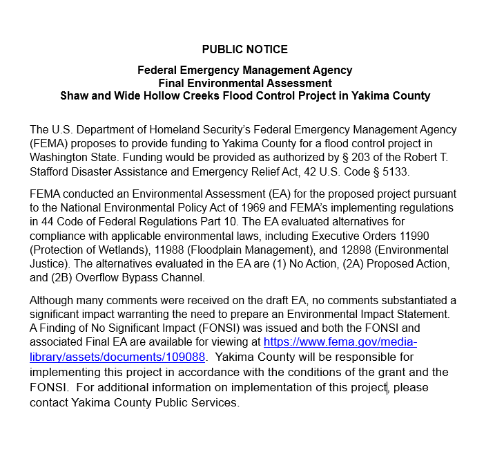 Shaw and Wide Hollow Creeks Flood Control Project - Public Notice